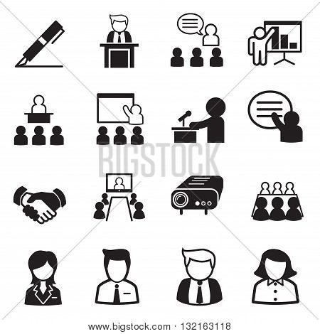 business management icons vector graphic design symbol