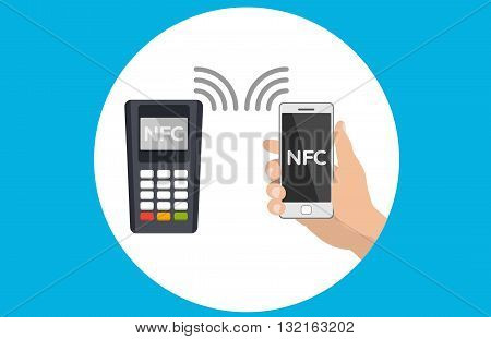 Mobile payments and near field communication. Transaction and paypass and NFC. illustration