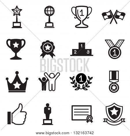 Win and success icons set vector graphic design symbol