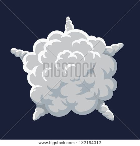 Cartoon smoke and dust Explosion Frame. Vector