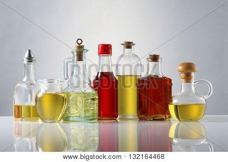 Various types of oil in bottles