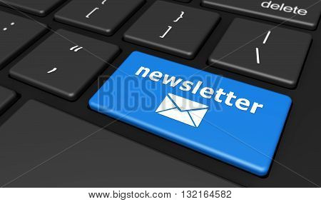 Newsletter concept with newsletter sign and email icon on a blue computer keyboard button 3D illustration.