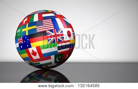 Flags of the world on a globe for international business school travel services and global management concept 3d illustration.