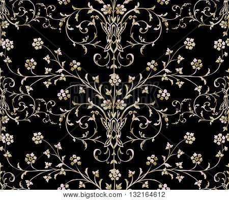 Gold Baroque seamless pattern on a black background. Vector pattern.