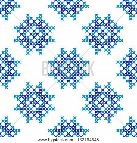 Isolated seamless embroidered texture with abstract blue ornaments.Patterns for cloth. Embroidery.Cross stitch