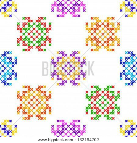 Seamless isolated texture with abstract color embroidered patterns for cloth. Embroidery. Cross stitch