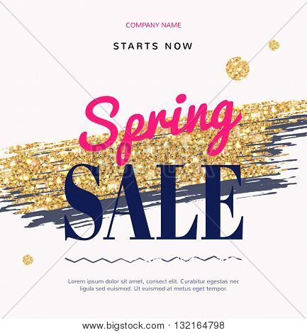 Sale Fashion modern web banner with Gold Brush. Super spring sale promotion discount. Special offer for online-shop cosmetics fashion and beauty salon shop.