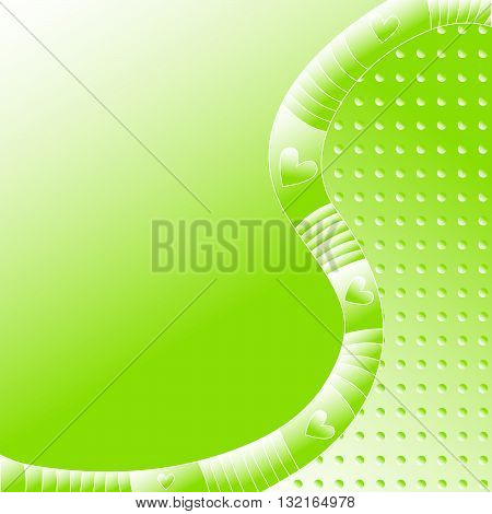 Green background with stripes, dots and hearts