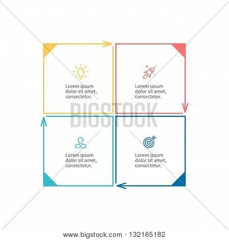 Square for infographics. Minimalistic chart, diagram with 4 steps, parts. Vector design template.