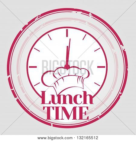 Lunch time stamp with chef's hat and watch