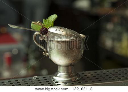 Johnnie Royal Berry Julep alcohol coctail on the table of bar