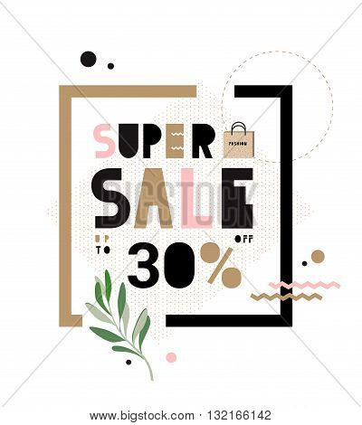 Super Sale banner with modern kraft letters and packages. Template Sale. Big Sale. Special offer. Up to 30 interest discount. Hipster style.