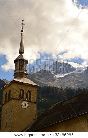 Church tower of a French village in the Alps, Contamines-Montjoie.