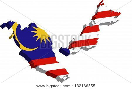 A map of Malaysia 3D on white background