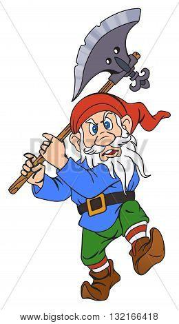Elderly gnome warrior with a halberd. On White Background.