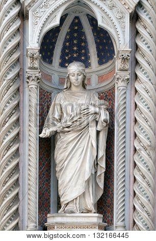 FLORENCE, ITALY - JUNE 05: Saint Reparata, Portal of Cattedrale di Santa Maria del Fiore (Cathedral of Saint Mary of the Flower), Florence, Italy on June 05, 2015