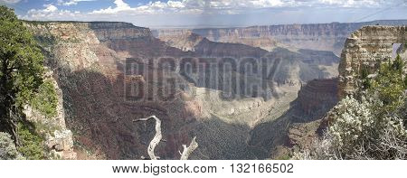 Panoramic view of the North Rim of the Grand Canyon Arizona United States.