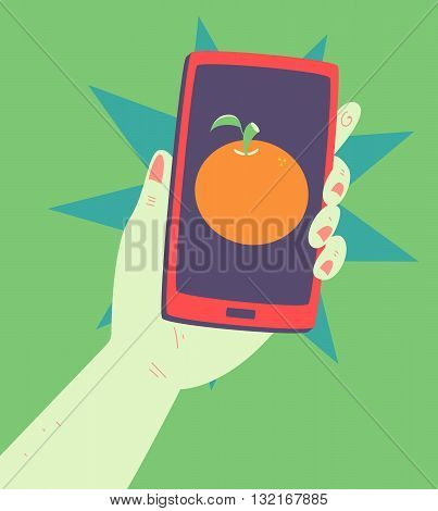 Hand Holding A Phone With An Orange Inside