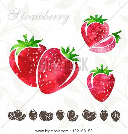 Strawberry icons set. Strawberry illustration with watercolor texture
