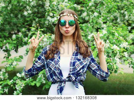 Fashion Cool Hippie Woman Having Fun In A Flowering Garden