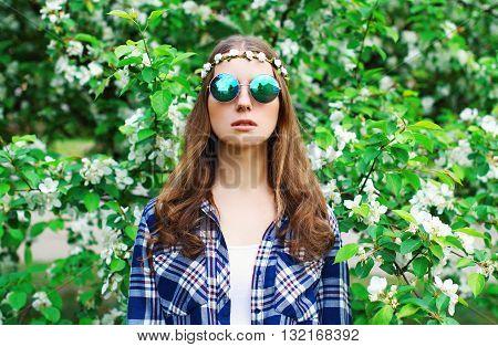 Fashion Portrait Hippie Woman In A Flowering Garden