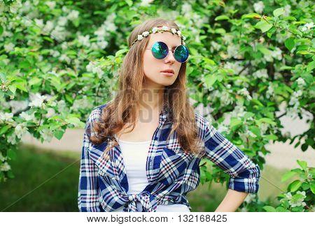 Fashion Portrait Of Hippie Woman In Flowering Garden