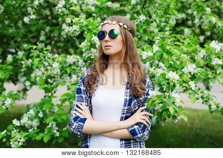 Portrait Fashion Hippie Woman In A Spring Flowering Garden