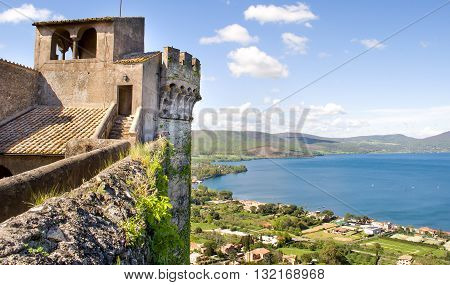 Rome Italy April 21 2013: The view of the Bracciano lake from the top of the Bracciano Castle.