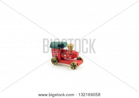 A red christmas train on white background