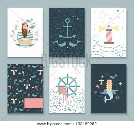 Set of covers for notebooks sea tales. Children's illustrations for books and notebooks. background with anchors sailor mermaid.
