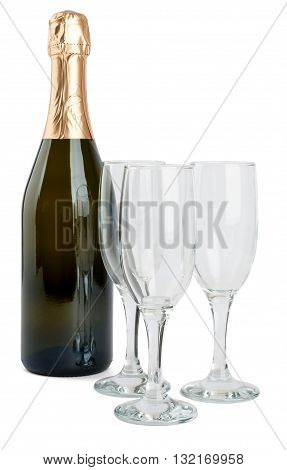 Champagne bottle and three champagne glasses isolated on white background