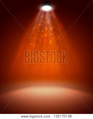 Background in show. Red interior shined with projector