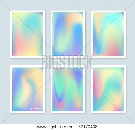 Bright holographic backgrounds set for a different design. You can use a gift card cover book printing fashion. Modern style trends 80. surreal hipster images.