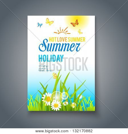 Summer nice day card. Nature template for design banner,ticket, leaflet, card, poster and so on.