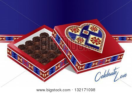 Celebrate Love - A Lovely Traditional Design 3D illustration Heart Box Filled With Chocolates