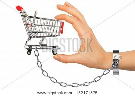 Chained hand holding shopping cart isolated on white background