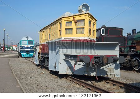 SAINT-PETERSBURG, RUSSIA - MARCH 30, 2016: Old snowplow CO-1-750 on the October Railway. Historical landmark
