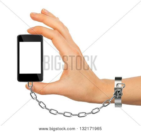 Chained female hand holding phone with blank screen isolated on white background