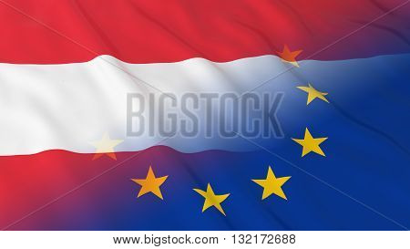 Austrian and European Union Relations Concept - Merged Flags of Austria and the EU 3D Illustration