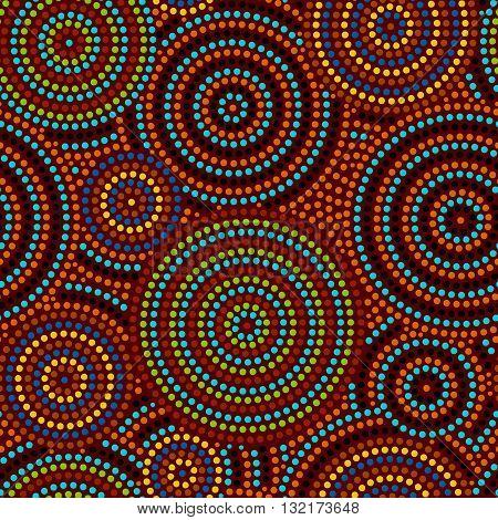 Australian aboriginal colorful geometric art concentric circles seamless pattern, vector background
