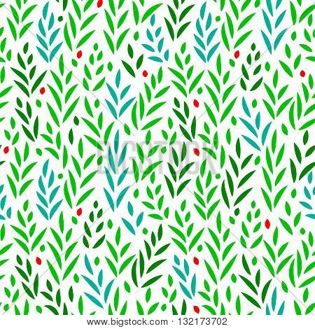 Subtle green leaves and grass floral seamless pattern on white, vector background