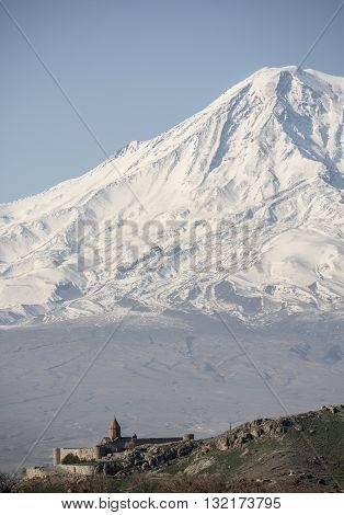 Wonderful view on Hor Virap Monastery with Ararat Mount in background. Armenia.