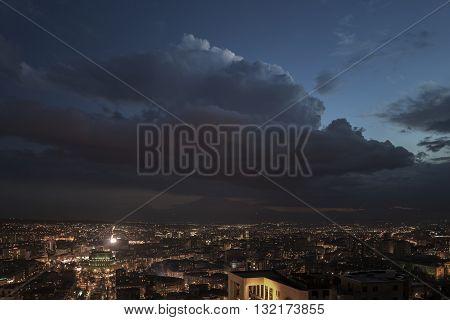 Night panoramic view on Yerevan city, Armenia