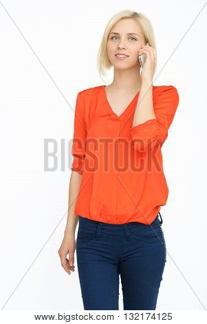 Succesful woman talking on telephone on isolated background