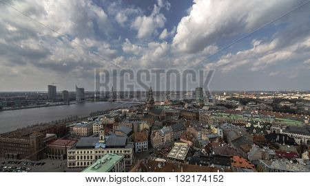 Panoramic view of historical part of Riga, Latvia