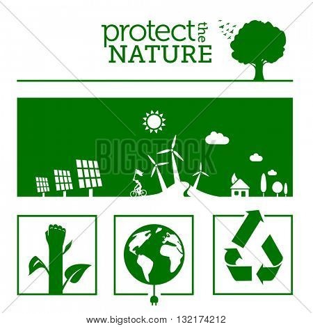 Protect the nature & green energy concept illustrations.