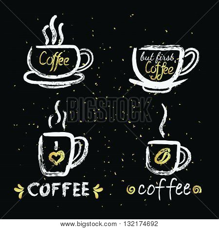vector illustration hand drawn coffee cup with steam