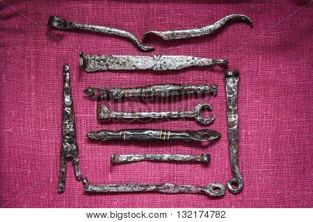 Iron medieval keys from padlocks about 13-14 centuries.