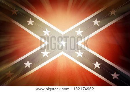 Brightly lit Confederate flag