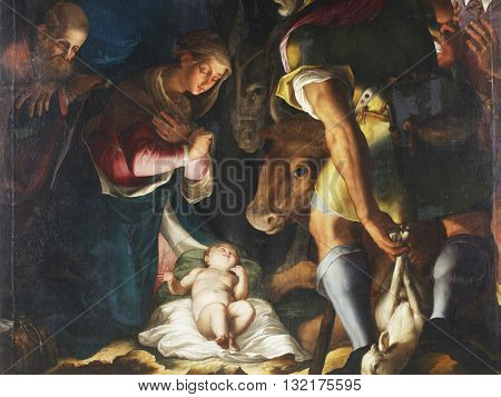 ZAGREB, CROATIA - DECEMBER 12: Unknown artist: Nativity, Adoration of the shepherds, exhibited at the Great Masters Renaissance in Croatia, opened December 12, 2011. in Zagreb, Croatia